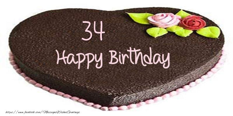 34 years Happy Birthday Cake