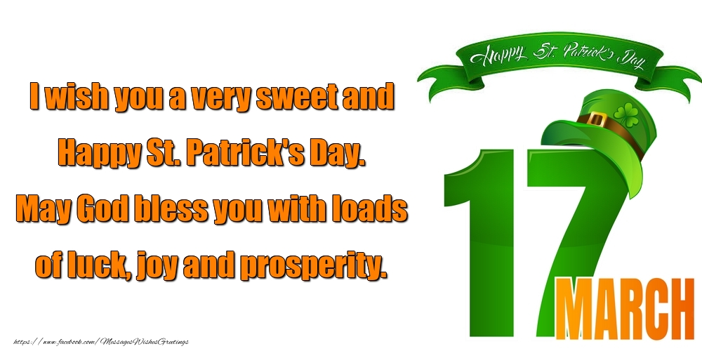 Greetings Cards for Saint Patrick's Day - I wish you a very sweet and Happy St. Patrick's Day