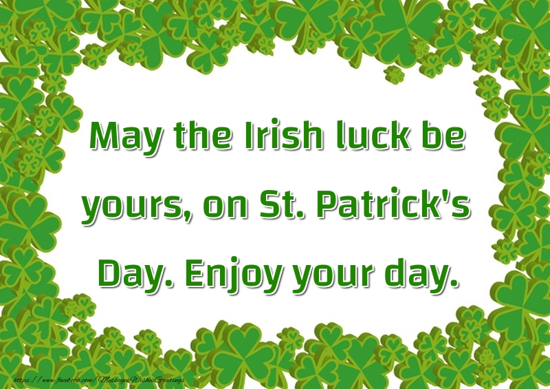 Greetings Cards for Saint Patrick's Day - May the Irish luck be yours