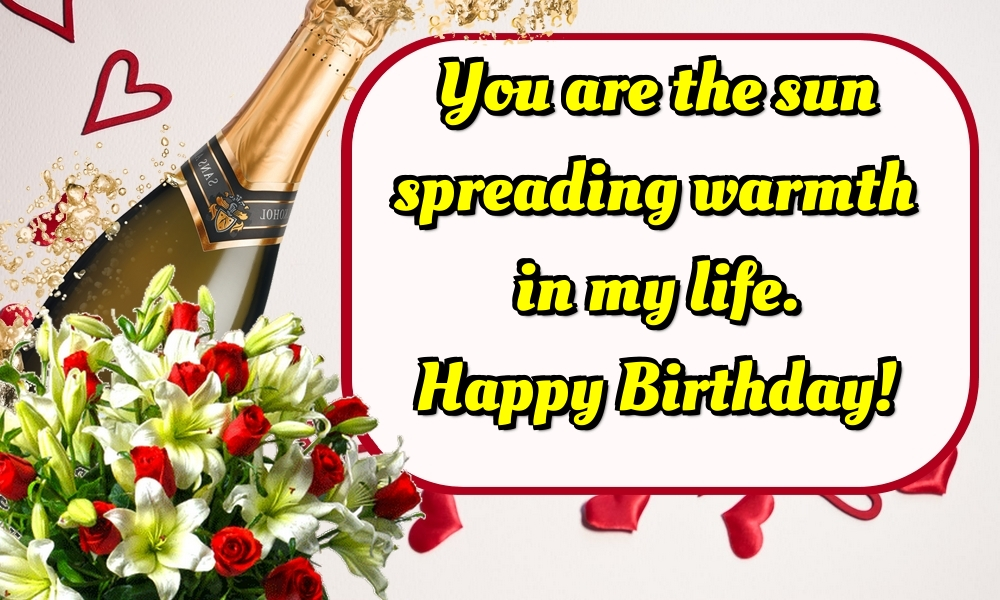 Greetings Cards for Birthday with flowers - You are the sun spreading warmth in my life. Happy Birthday!