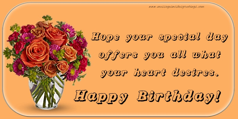 Popular greetings cards for Birthday with flowers - Happy Birthday