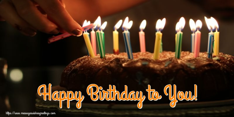 Popular greetings cards for Birthday with cake - Happy Birthday to You!