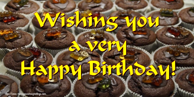 Greetings Cards for Birthday with cake - Wishing you a very Happy Birthday!