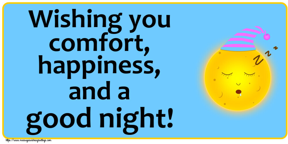 Greetings Cards for Good night with emoji - Wishing you comfort, happiness, and a good night!