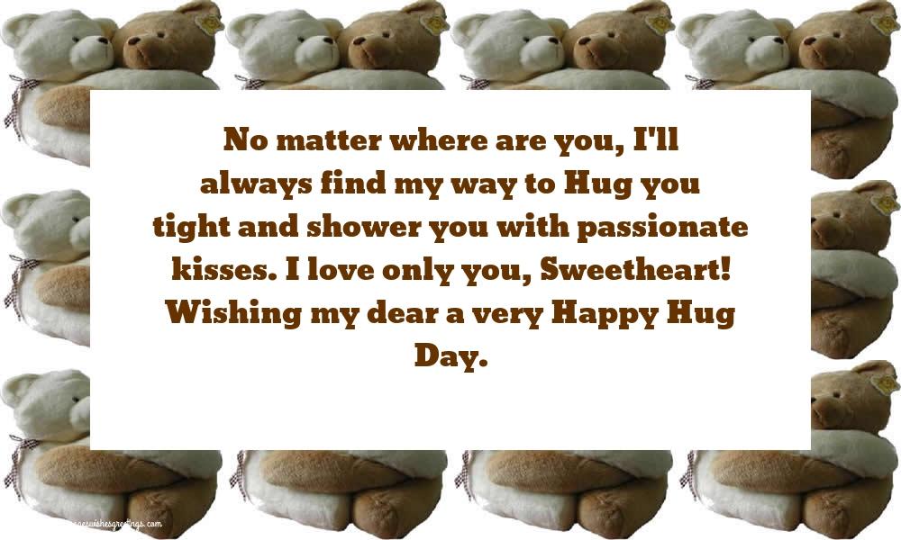 Greetings Cards for Hug Day - Wishing my dear a very Happy Hug Day
