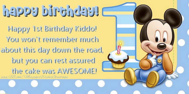 Greetings Cards For Kids Happy 1st Birthday Kiddo You Wont