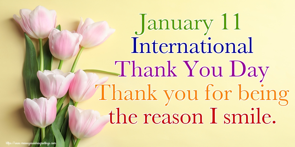 Popular greetings cards International Thank You Day - January 11 International Thank You Day Thank you for being the reason I smile.