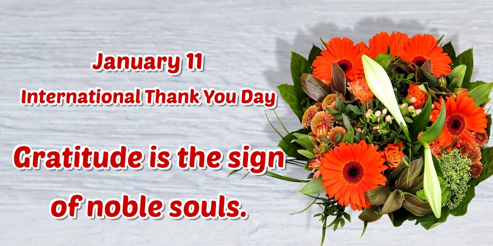 Thank You Day January 11 International Thank You Day Gratitude is the sign of noble souls.