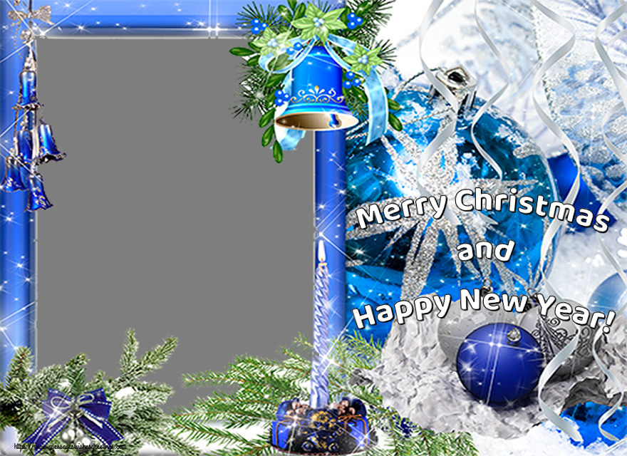 Custom Greetings Cards for Christmas - Merry Christmas and Happy New Year! - Christmas Photo Frame