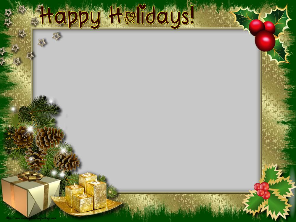 Custom Greetings Cards for Christmas - Happy Holidays! - Christmas Photo Frame