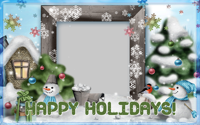 Custom Greetings Cards for Christmas - Happy Holidays! - Christmas Photo Frame