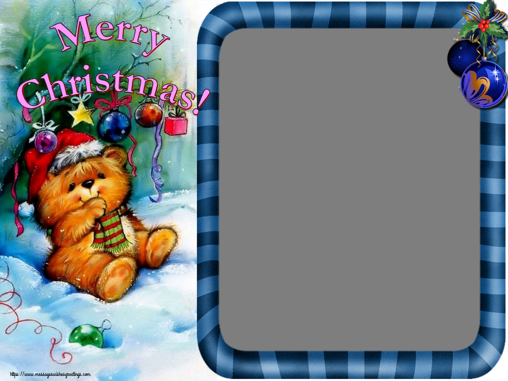 Custom Greetings Cards for Christmas - Merry Christmas! - Christmas Photo Frame