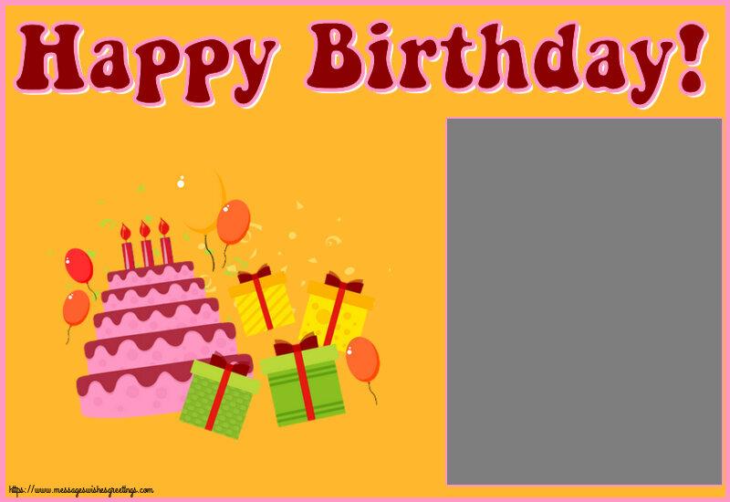 Custom Greetings Cards for kids - Happy Birthday! - Photo Frame