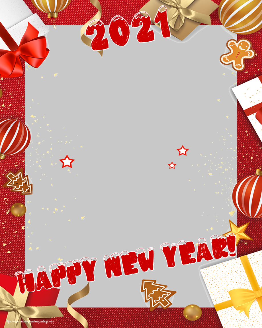 Custom Greetings Cards for New Year - 2021 Happy New Year! - New Year Photo Frame