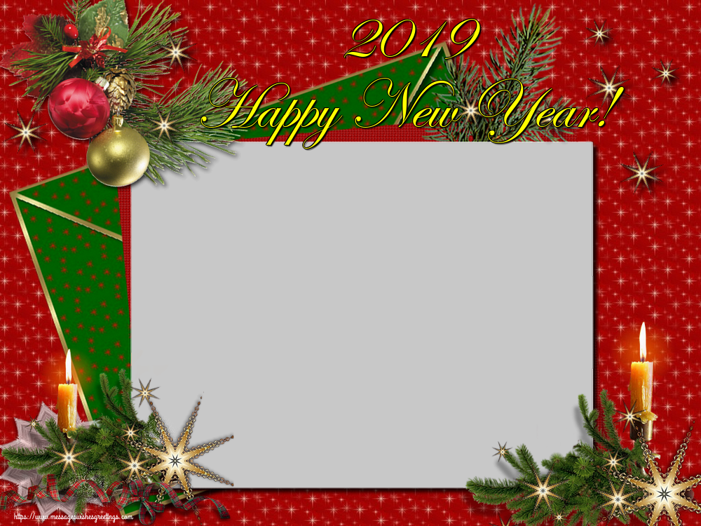Custom Greetings Cards for New Year - 2019 Happy New Year! - New Year Photo Frame