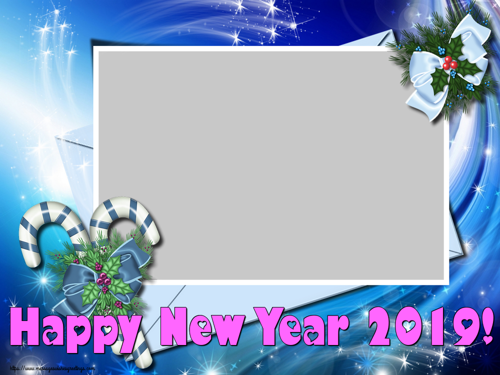 Custom Greetings Cards for New Year - Happy New Year 2019! - New Year Photo Frame