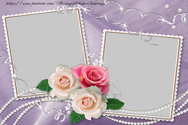 Custom Greetings Cards with Photo - Double photo frame with flowers