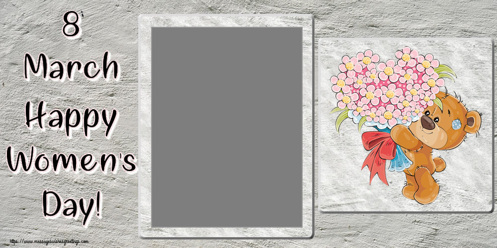 Custom Greetings Cards for Women's Day - 8 March Happy Women's Day! - Photo Frame