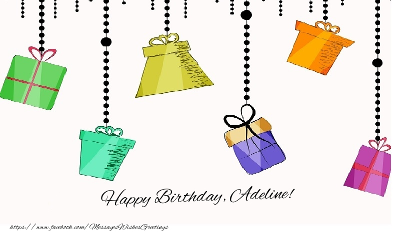 Greetings Cards for Birthday - Happy birthday, Adeline!