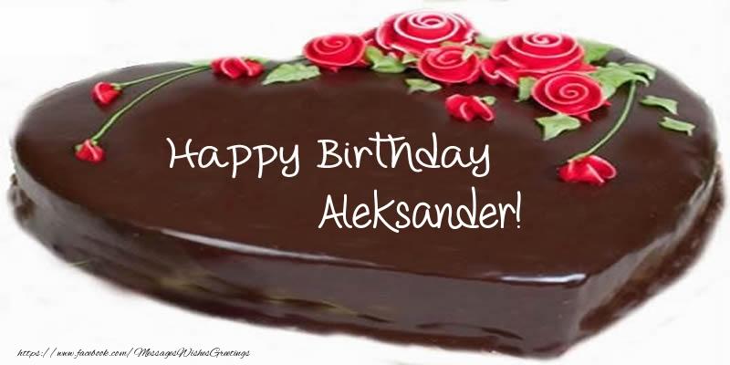 Greetings Cards for Birthday - Cake Happy Birthday Aleksander!