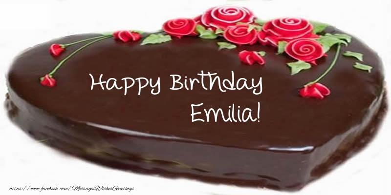 Greetings Cards for Birthday - Cake Happy Birthday Emilia!