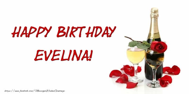 Greetings Cards for Birthday - Happy Birthday Evelina