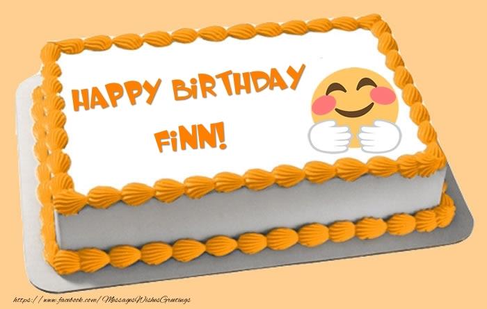 Greetings Cards for Birthday - Happy Birthday Finn! Cake