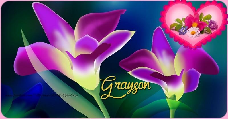 Greetings Cards for Birthday - Happy Birthday Grayson