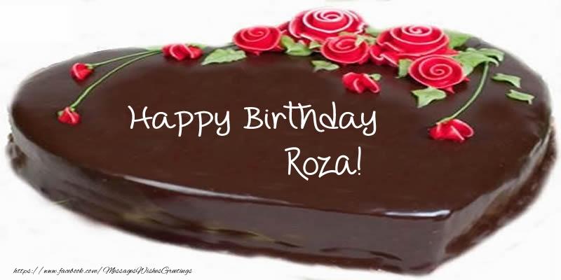 Greetings Cards for Birthday - Cake Happy Birthday Roza!