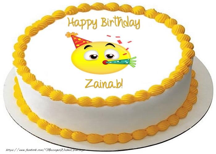 Cake Happy Birthday Zainab Greetings Cards For Birthday For