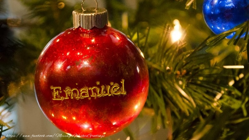 Greetings Cards for Christmas - Your name on christmass globe Emanuel