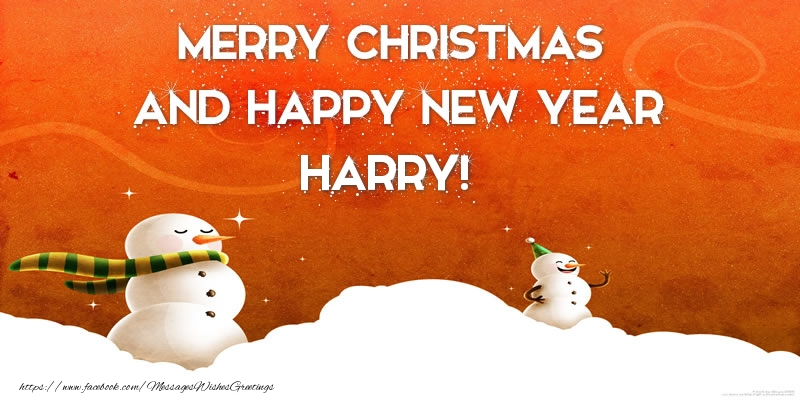 Greetings Cards for Christmas - Merry christmas and happy new year Harry!
