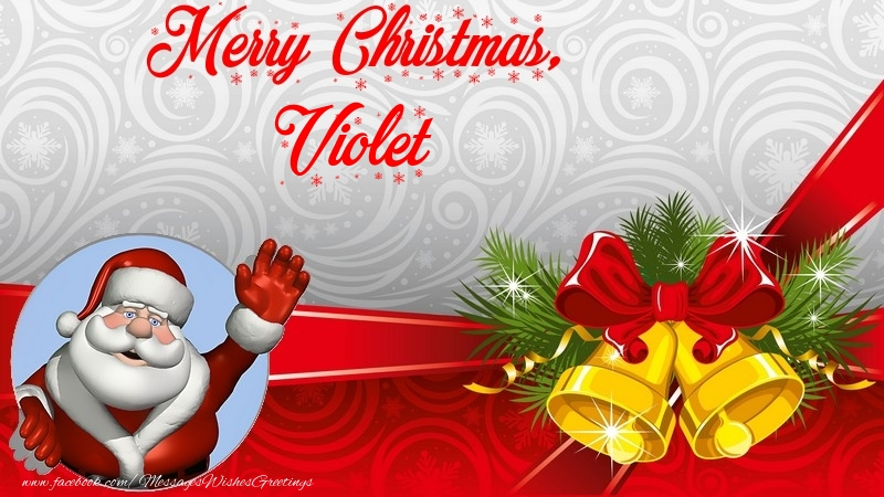 Greetings Cards for Christmas - Merry Christmas, Violet