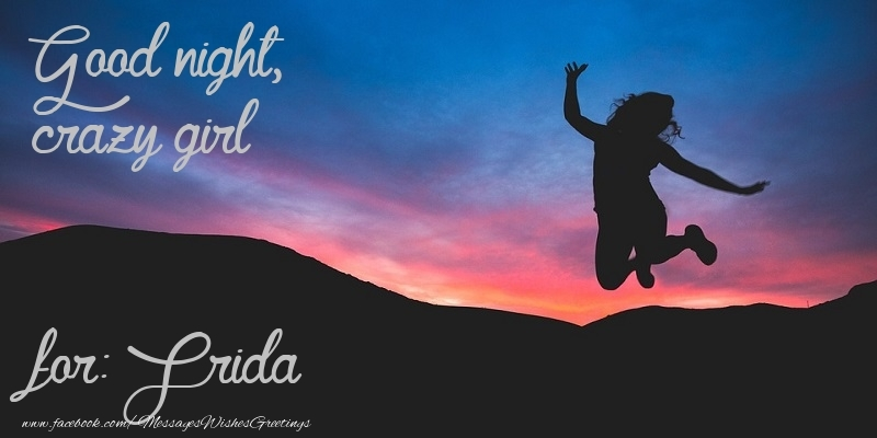 Greetings Cards for Good night - Good night, crazy girl Frida