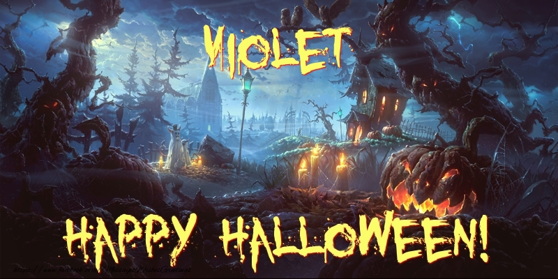 Greetings Cards for Halloween - Violet Happy Halloween!