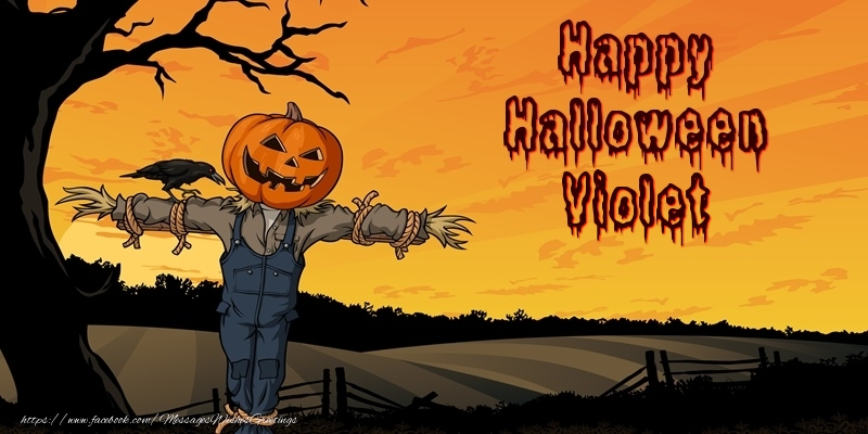 Greetings Cards for Halloween - Happy Halloween Violet