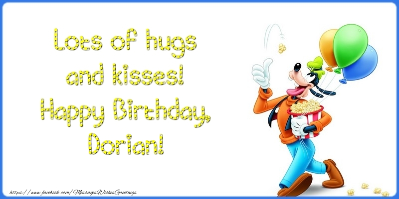 Greetings Cards for kids - Lots of hugs and kisses! Happy Birthday, Dorian