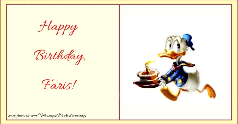 Greetings Cards for kids - Happy Birthday, Faris