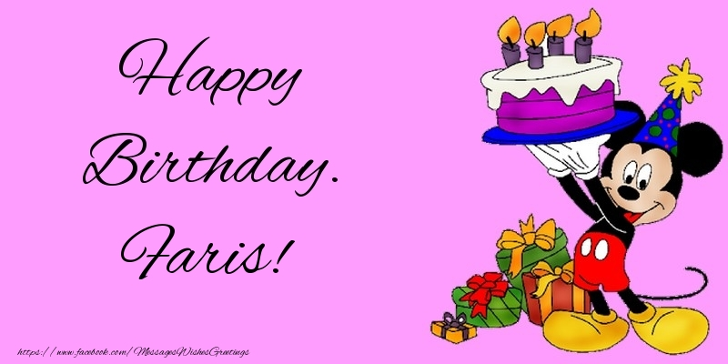 Greetings Cards for kids - Happy Birthday. Faris