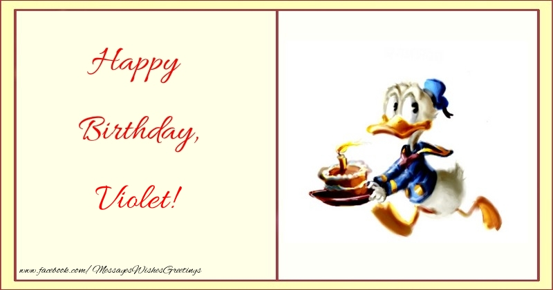 Greetings Cards for kids - Happy Birthday, Violet