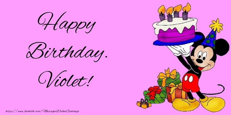 Greetings Cards for kids - Happy Birthday. Violet