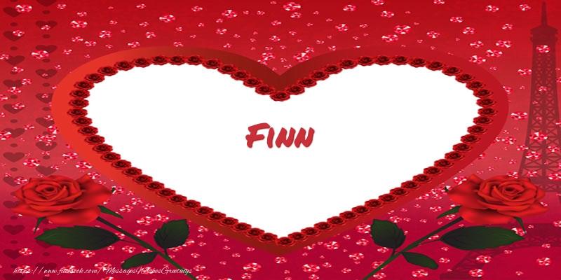 Greetings Cards for Love - Name in heart  Finn