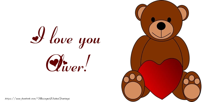 name on my heart oliver  greetings cards for love for