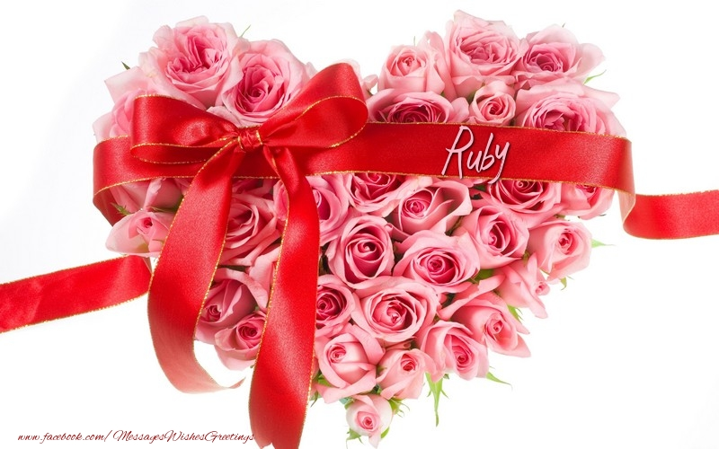 Name on my heart ruby greetings cards for love for ruby
