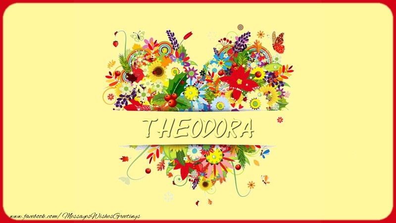 Greetings Cards for Love - Name on my heart Theodora