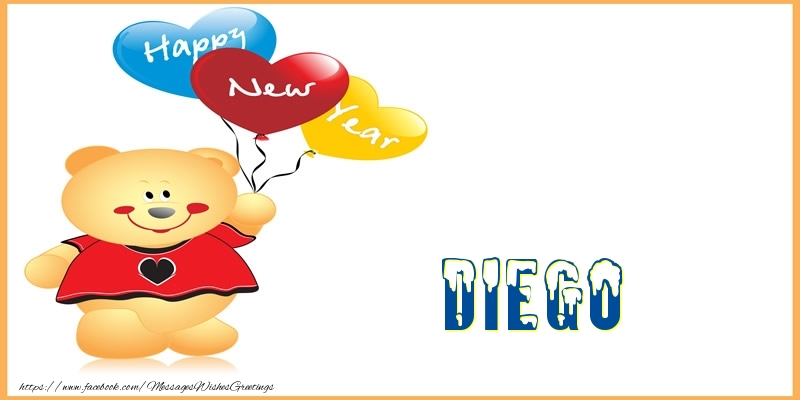 Greetings Cards for New Year - Happy New Year Diego!