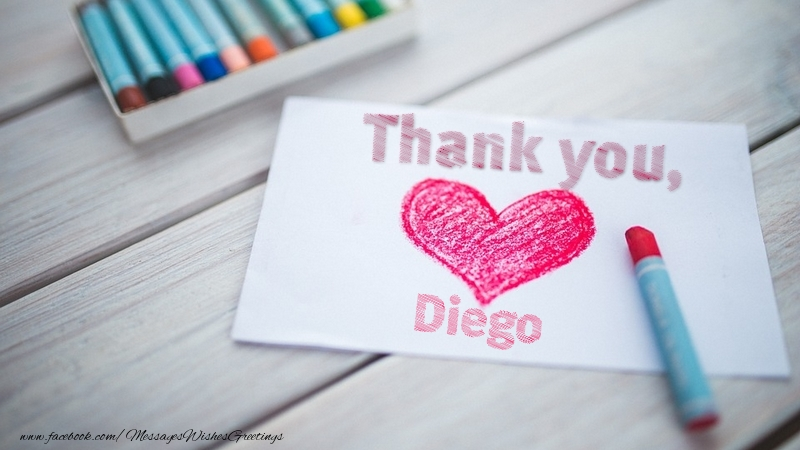 Greetings Cards Thank you - Thank you, Diego