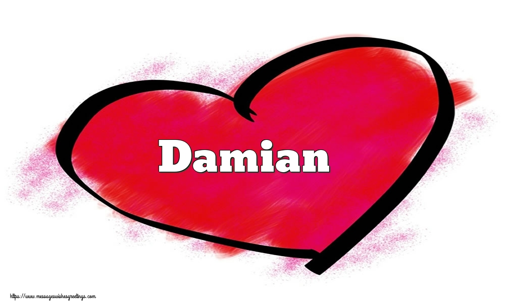 Greetings Cards for Valentine's Day - Name Damian in heart