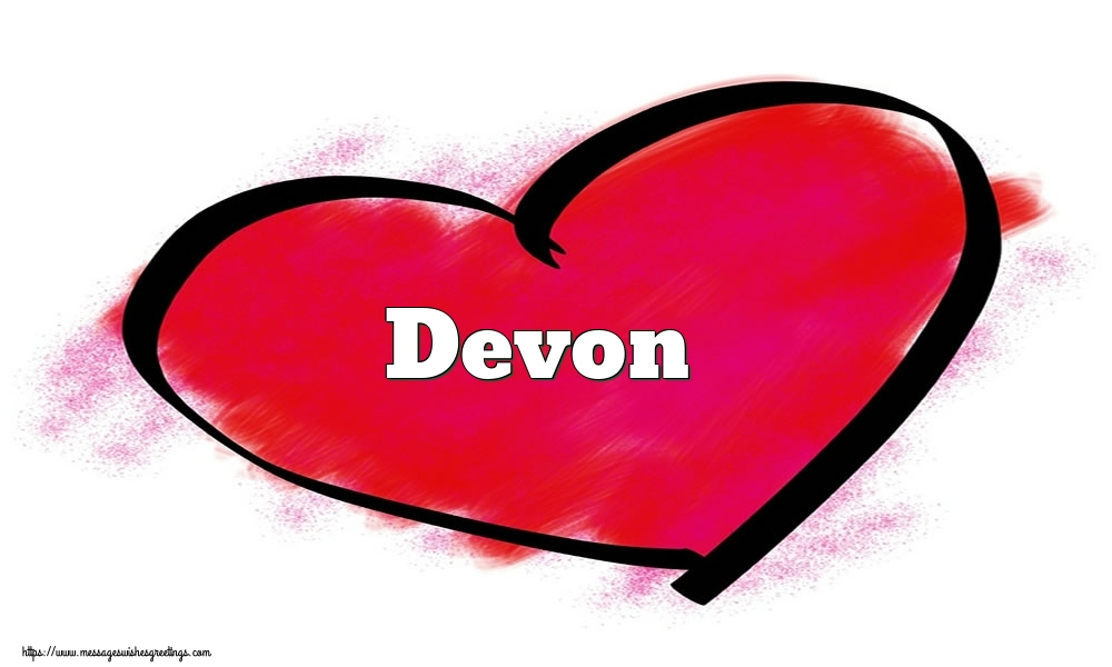 Greetings Cards for Valentine's Day - Name Devon in heart