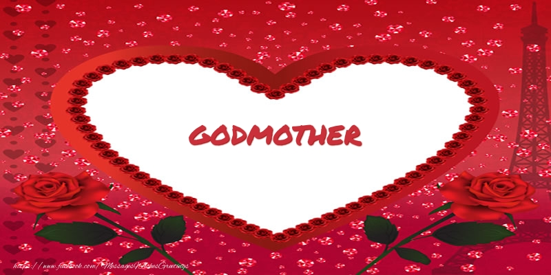 Greetings Cards for Love for Godmother - Name in heart  godmother